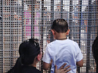 Family at border crossing