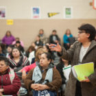 Margarita Avalos asks a question about the new PARCC exam at a recent forum  in Gage Park.