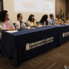 "Catalyst publisher Linda Lenz addresses the panel at a forum on ""The High School Challenge"" on May 21, 2015."