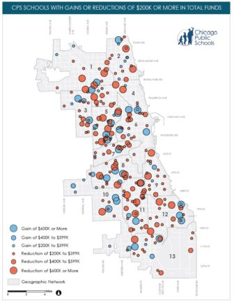 CPS map of schools that will gain or lose at least $200,000 next fiscal year,
