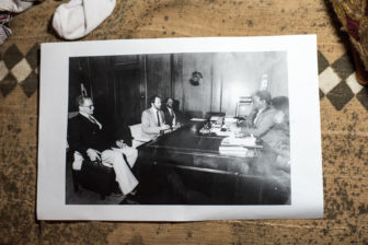 Retired CPD officer Buzz Palmer shares a photo of himself (pictured third from left) in a meeting with Mayor Harold Washington circa 1984. (Photo by Max Herman)