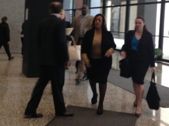 Barbara Byrd-Bennett walks through the federal courthouse Tuesday after pleading guilty to one count of fraud.