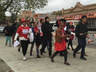 "Students and staff from Lindblom Math and Science Academy protest CPS ""toxic swaps"" on Oct. 29 in Englewood."