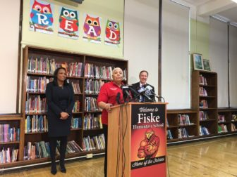 Fiske Principal Cynthia Miller speaking at press conference with CEO Forrest Claypool and Chief Education Office Janice Jackson.
