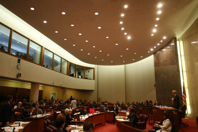 The Chicago City Council held its' first meeting with newly elected members at City Hall on May 20, 2015.