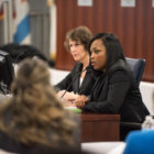 """CPS Chief Education Officer Janice Jackson, shown here at the January board meeting, says that """"the longer Gov. Rauner stands in the way of equitably funding education, the more CPS will be at a competitive disadvantage for retaining our best principals and teachers."""""""
