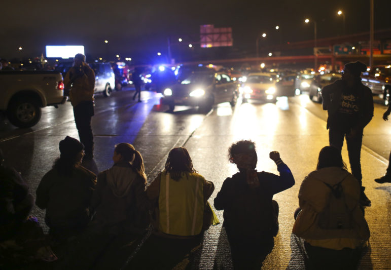 After a man was shot by Minneapolis police early on November 15, 2015, Black Lives Matters and others protested by marching from the Minneapolis Police 4th Precinct station to I-94, shutting down westbound traffic on the freeway on the evening of November 16.