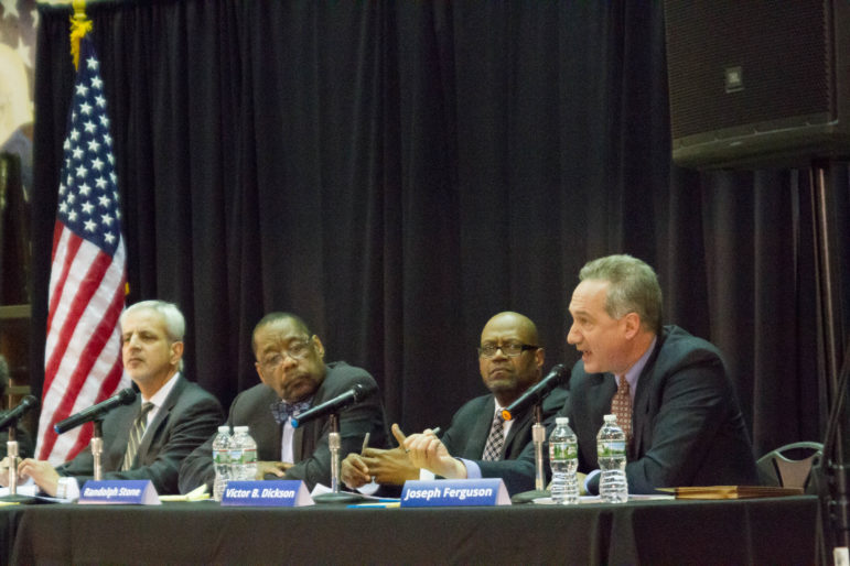 Chicago Inspector General Joseph Ferguson, right, addresses members of the community at a Police Accountability Task Force public forum in Pilsen on February 23.