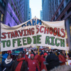 Chicago teachers and allies march around the Loop towards a rally at Daley Plaza on February 4, 2016.
