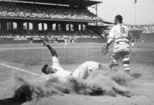 Josh Gibson slides into home during the 1944 Negro Leagues All-Star Game.