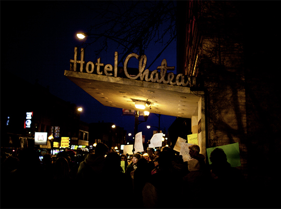 Hotel Chateau protest, March 2013