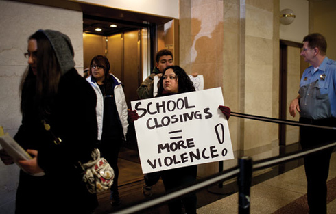 Students marched to Mayor Rahm Emanuel's City Hall office on March 25 to  protest the proposed Chicago Public Schools closings. Photo by Jonathan  Gibby.