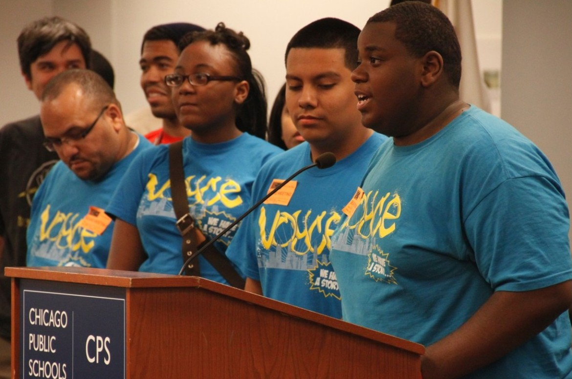 Members from Voices of Youth in Chicago Education speaking about the Student Code of Conduct, which CPS has changed in recent years to reduce expulsions and suspensions. (File photo)