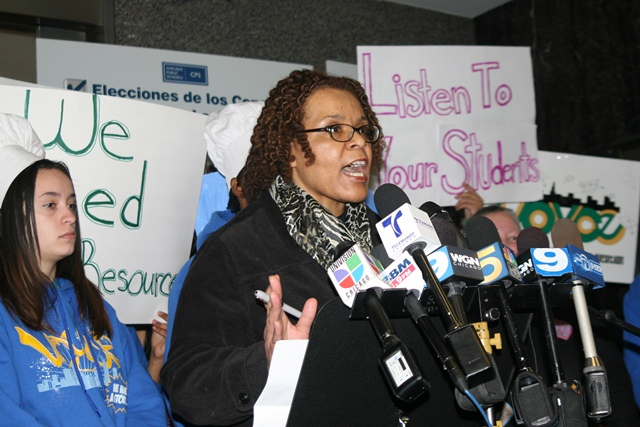 Parent Donna Moore says Noble Network of Charter Schools' strict discipline code caused her son, a student at Gary Comer College Prep, to rack up more than 30 detentions during the 2010-11 school year. As a result, he is currently repeating his freshman year.