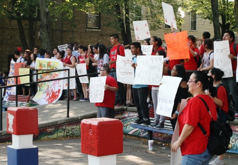 Students, parents and activist hold a rally at the School of Social Justice.