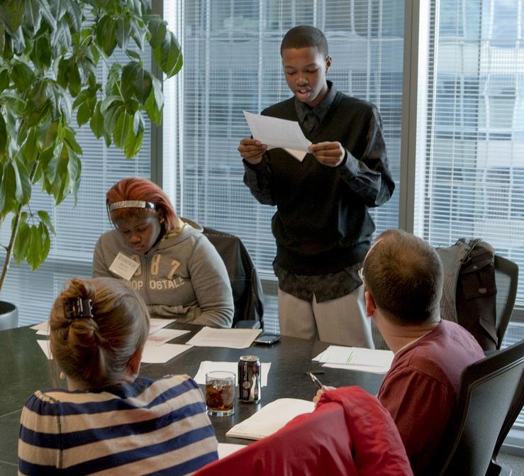 Chicago Public Schools students prepare for a debate. [Photo courtesy of Chicago Debate League]