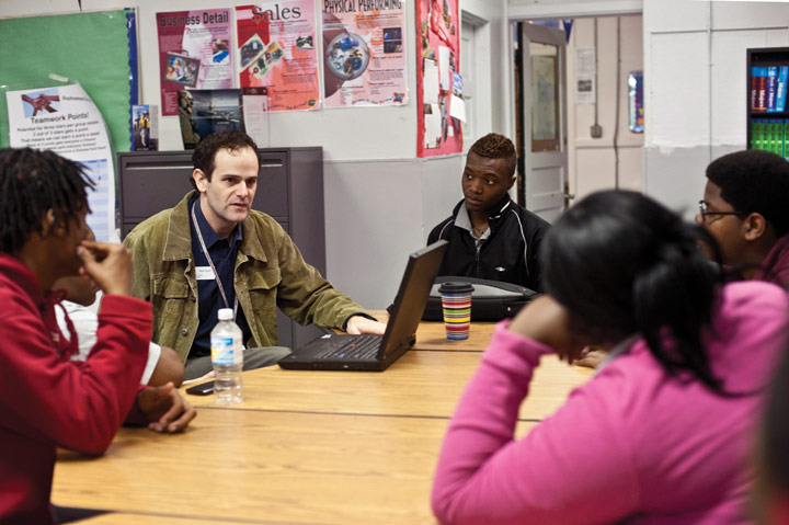 Social worker Paul Fagen meets with peer mediators, called Peace Keepers, at Chicago Talent Development High School. Fagen says students need the conflict-resolution program and other social-emotional supports because neighborhood violence has left them constantly on guard against perceived threats.