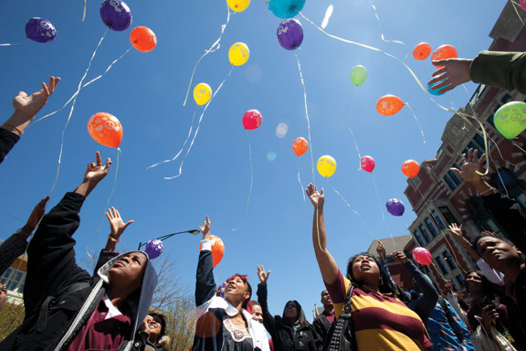 As warm weather set in at the end of the school year, Marshall Principal Kenyatta Stansberry had her staff organize Peace Day, with sessions on conflict resolution. Students who had lost friends and family to violence let go of balloons in remembrance.